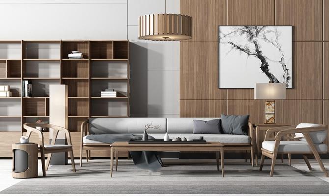 北欧实木沙发休闲椅茶几装饰柜组合3D模型【ID:17182204】