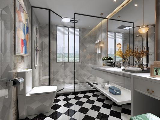 现代浴室卫生间3d模型【ID:17183467】