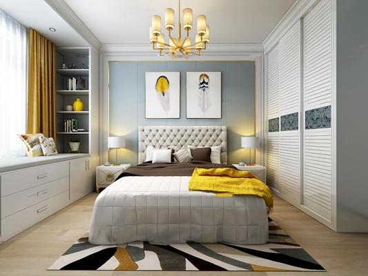 现代卧室3D模型【ID:17186339】