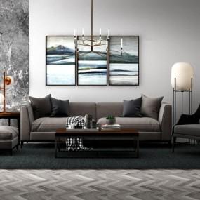 现代沙发休闲椅落地灯组合3D模型【ID:17187007】