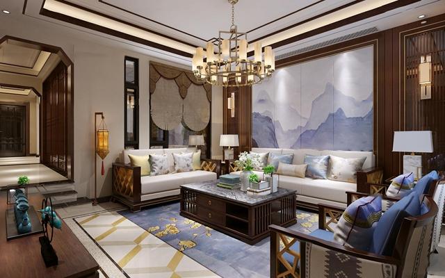 中式客厅餐厅茶室3D模型【ID:17187021】