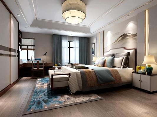 新中式卧室主人房3D模型【ID:419707396】