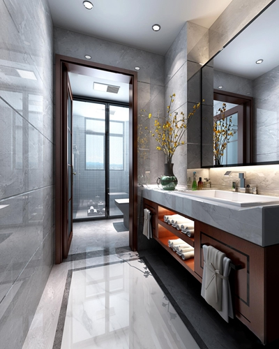 新中式淋浴间卫生间3D模型【ID:17187965】