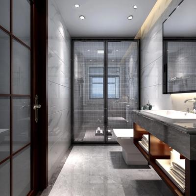 新中式淋浴间卫生间3D模型【ID:17187968】
