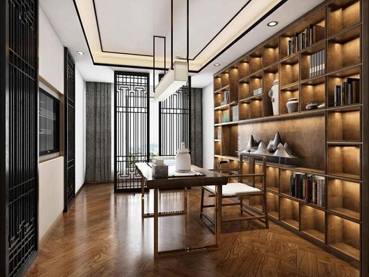 新中式书房3D模型【ID:17189373】