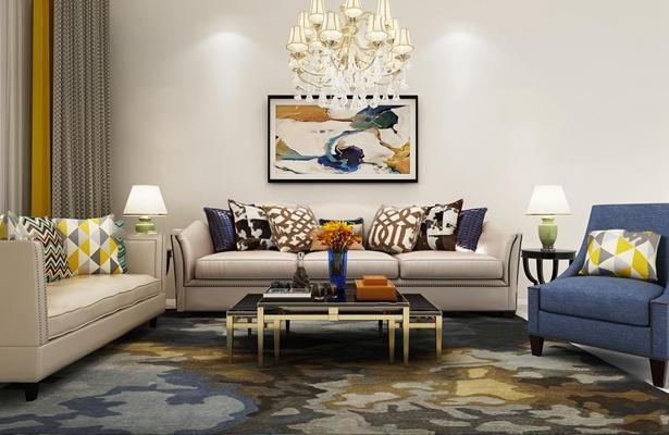 现代沙发茶几组合3d模型【ID:17189707】