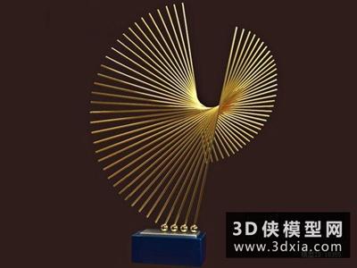 现代金属装饰品国外3D模型【ID:929587828】