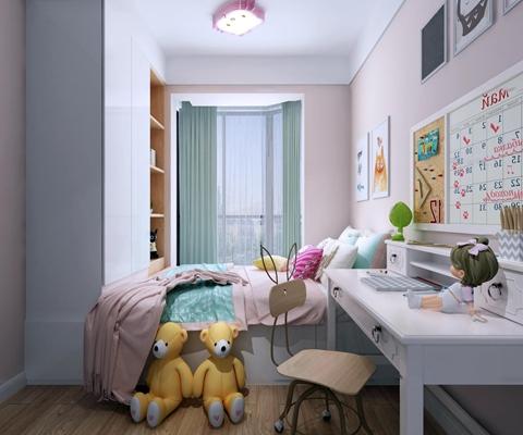 现代女孩卧室儿童房3D模型【ID:17191121】