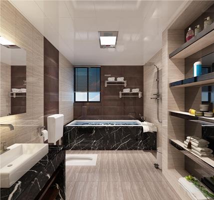 现代卫浴间3d模型【ID:17193267】
