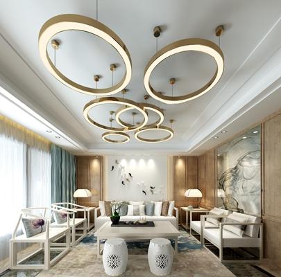 新中式沙发茶几3d模型【ID:17193805】