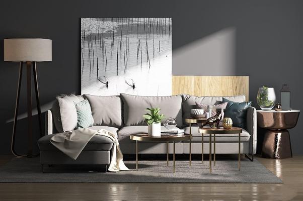 现代布艺转角多人沙发茶几落地灯组合3D模型【ID:17194708】