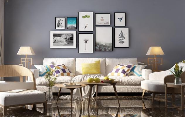 现代沙发茶几组合3d模型【ID:17194906】