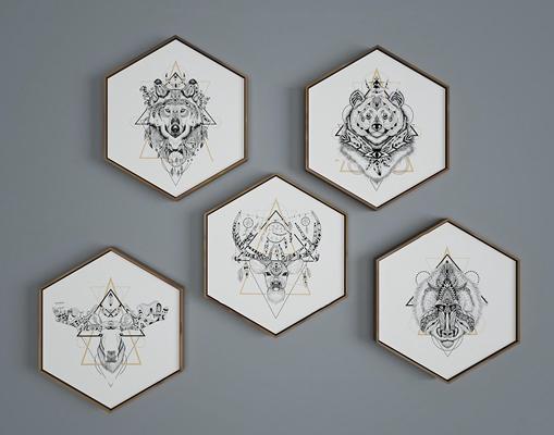 北欧六边形动物挂画组合3d模型【ID:17196208】