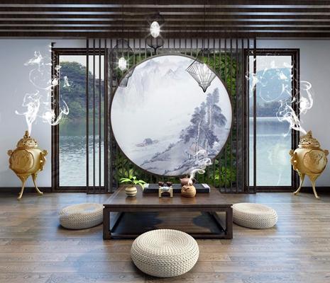 新中式茶室3D模型【ID:327927767】