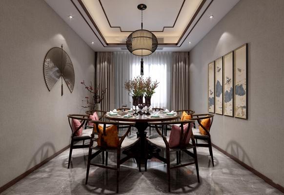 中式餐厅3D模型【ID:17200189】