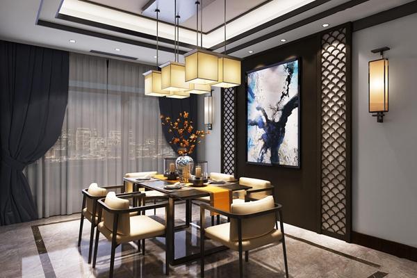 新中式客厅餐厅玄关3d模型【ID:17202288】