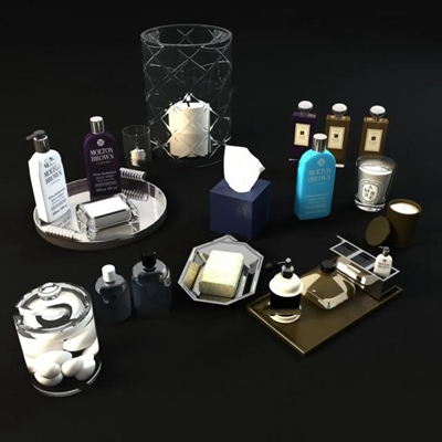 现代洗浴用品组合3d模型【ID:17202378】