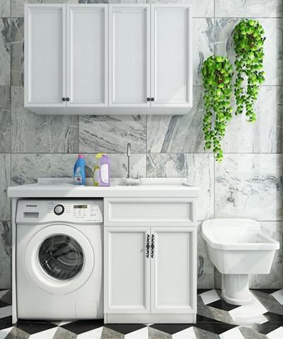 现代洗衣机伴侣拖把池组合3D模型【ID:17205159】