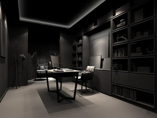 现代书房3D模型【ID:17205878】