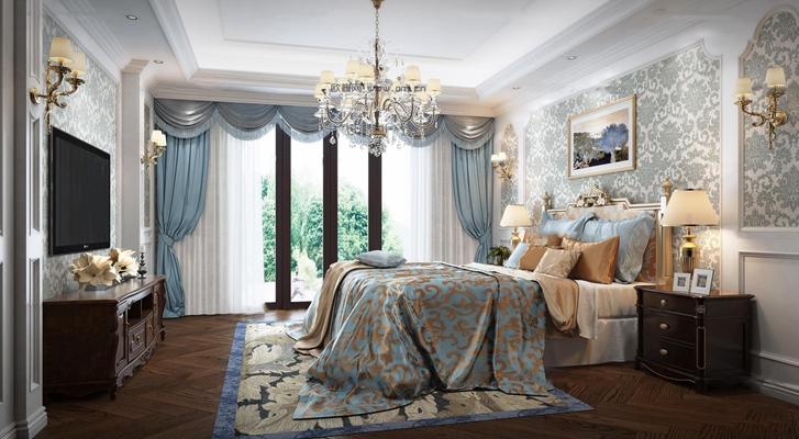 欧式卧室3D模型【ID:17206834】