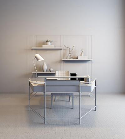 现代书桌椅书架组合3d模型【ID:17206899】