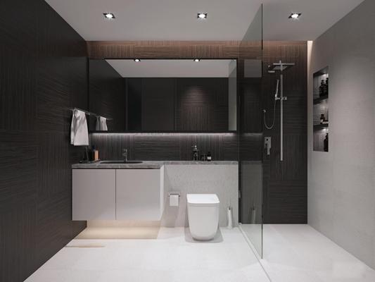 现代卫浴空间3D模型【ID:17207467】
