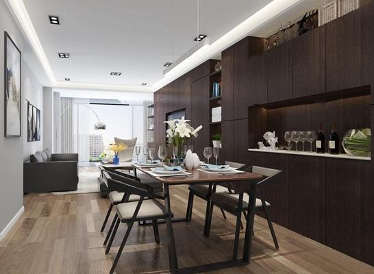 现代客厅餐厅3D模型【ID:17207583】