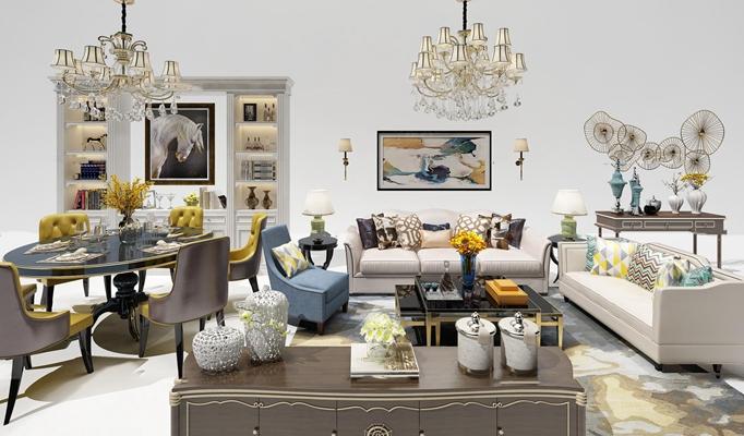简欧布艺沙发茶几餐桌椅装饰柜吊灯组合3D模型【ID:17209109】