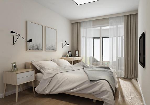 北欧卧室3D模型【ID:17210738】