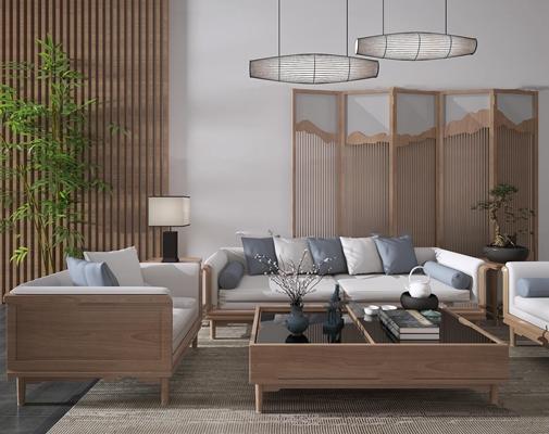 新中式沙发茶几组合3d模型【ID:17211700】