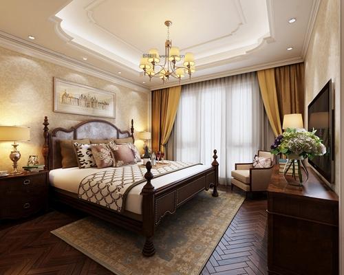 美式卧室3D模型【ID:17213835】