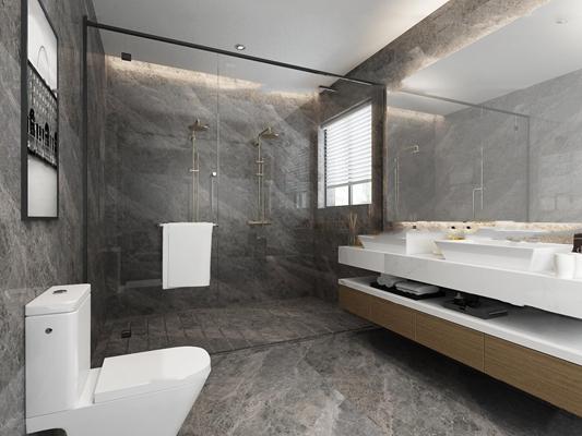 现代卫浴空间3D模型【ID:17214168】