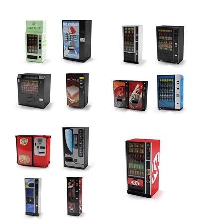 现代自动售卖机冰柜组合3d模型【ID:17216126】