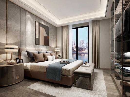 现代卧室3D模型【ID:17216534】