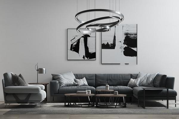 现代布艺转角多人沙发茶几吊灯组合3D模型【ID:17216704】