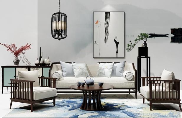 新中式沙发茶几边柜组合3d模型【ID:17218408】