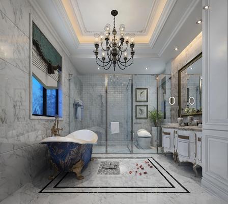 欧式浴缸卫浴空间3D模型【ID:17220567】