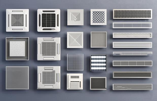现代空调出风口排气扇组合3D模型【ID:17222443】
