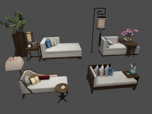 中式布艺贵妃椅落地灯组合3D模型【ID:17223731】