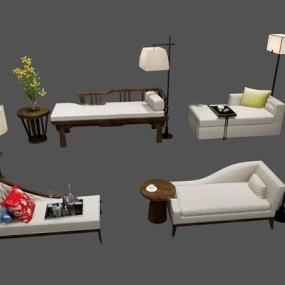新中式布艺贵妃椅落地灯组合3D模型【ID:17224332】