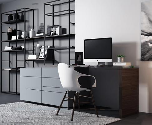 现代书桌装饰柜休闲椅组合3D模型【ID:17224397】