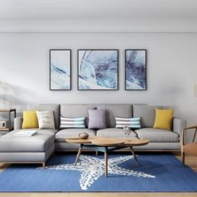 北欧布艺转角多人沙发休闲椅茶几组合3D模型【ID:17225008】