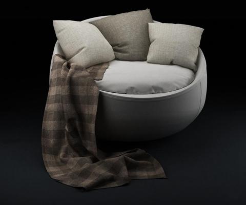 现代圆形布艺休闲沙发3D模型【ID:17225428】