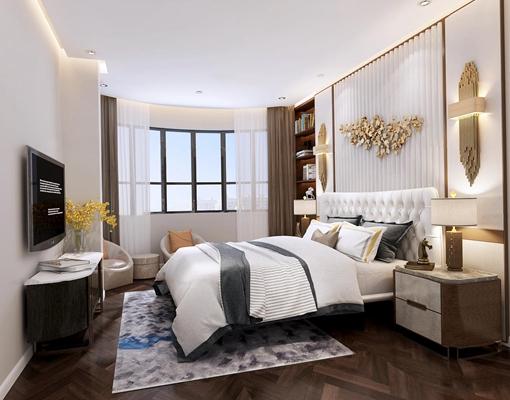 现代卧室3D模型【ID:17226533】