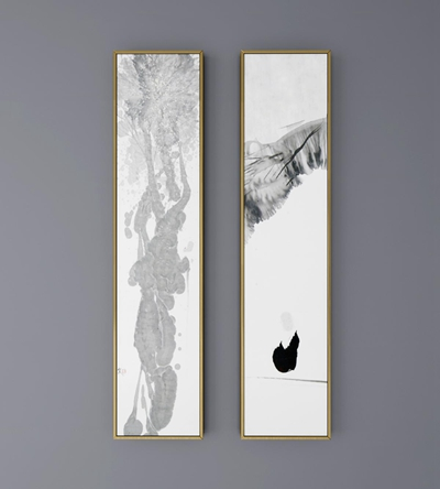 中式水墨挂画装饰画3D模型【ID:17227304】