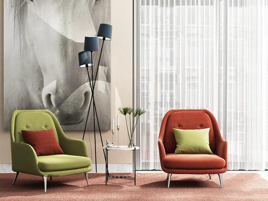北欧沙发椅落地灯圆几摆件组合3D模型【ID:17230122】