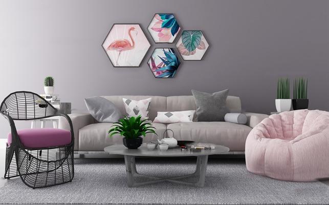 北欧沙发休闲椅茶几组合3D模型【ID:119681056】
