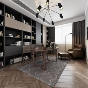 现代书房3D模型【ID:17230576】