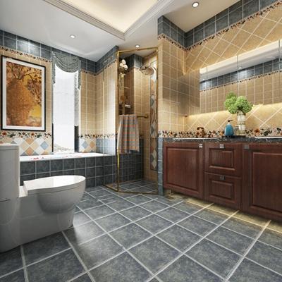 美式浴室卫生间3D模型【ID:17231861】