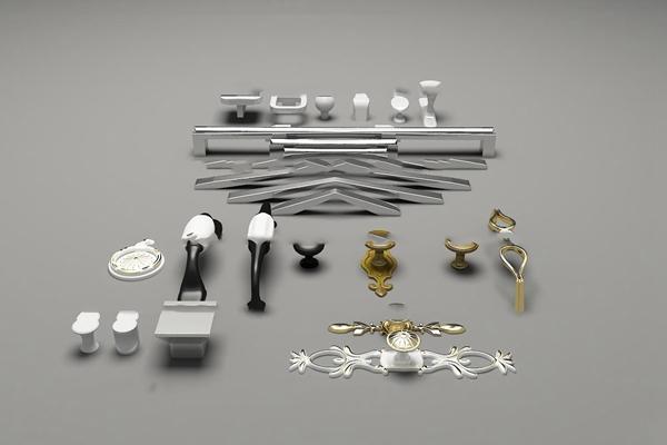 欧式金属把手拉手组合3D模型【ID:17232908】